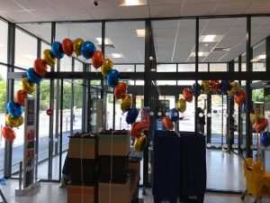 Balloons delivered to ALDI - Newton Le Willows - the party and balloon shop golborne