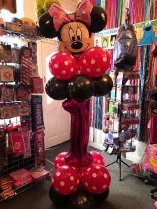 birthday balloons - minnie mouse themed balloon - party shop golborne & lowton